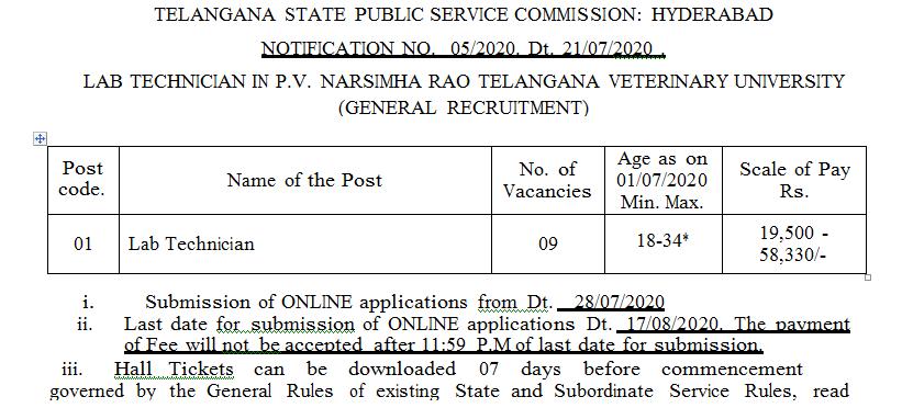 Lab Technician Posts in P.V. Narsimha Rao Telangana Veterinary university